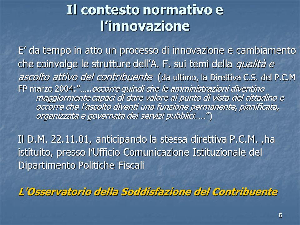 5 Il contesto normativo e linnovazione E da tempo in atto un processo di innovazione e cambiamento che coinvolge le strutture dellA.