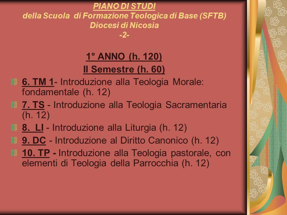 PIANO DI STUDI della Scuola di Formazione Teologica di Base (SFTB) Diocesi di Nicosia -2- 1° ANNO (h. 120) II Semestre (h. 60) 6. TM 1- Introduzione a