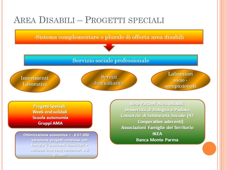 A REA D ISABILI – P ROGETTI SPECIALI -Sistema complementare e plurale di offerta area disabili Progetti Speciali: Week end solidali Scuola autonomia S