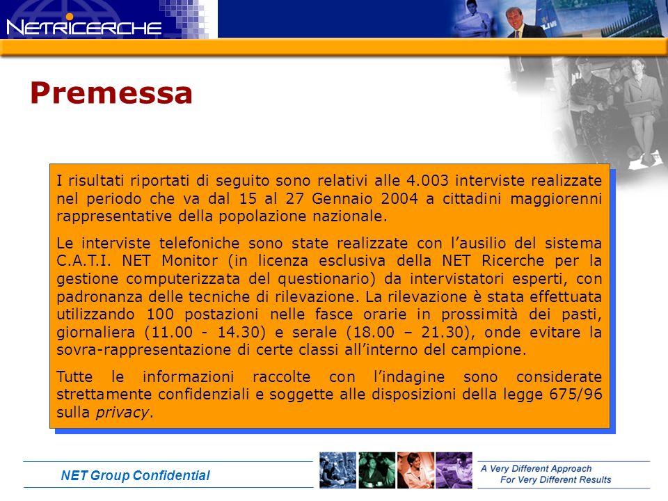 NET Group Confidential Premessa I risultati riportati di seguito sono relativi alle 4.003 interviste realizzate nel periodo che va dal 15 al 27 Gennaio 2004 a cittadini maggiorenni rappresentative della popolazione nazionale.