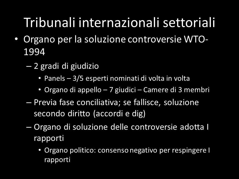 Tribunali internazionali settoriali Organo per la soluzione controversie WTO- 1994 – 2 gradi di giudizio Panels – 3/5 esperti nominati di volta in vol