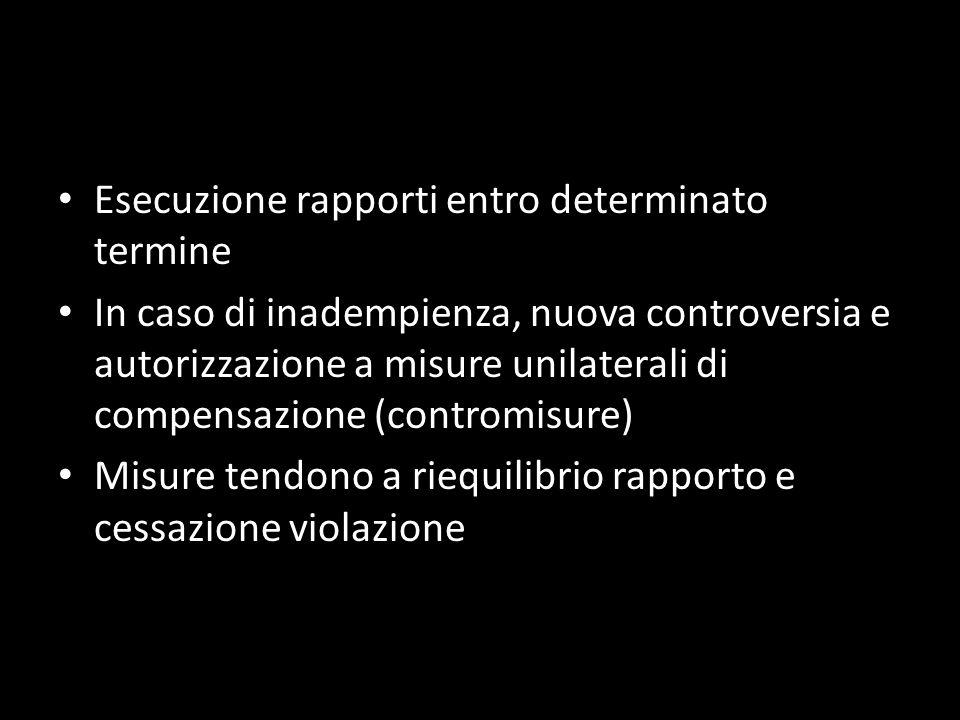 Esecuzione rapporti entro determinato termine In caso di inadempienza, nuova controversia e autorizzazione a misure unilaterali di compensazione (cont