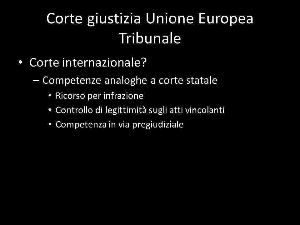 Corte giustizia Unione Europea Tribunale Corte internazionale? – Competenze analoghe a corte statale Ricorso per infrazione Controllo di legittimità s