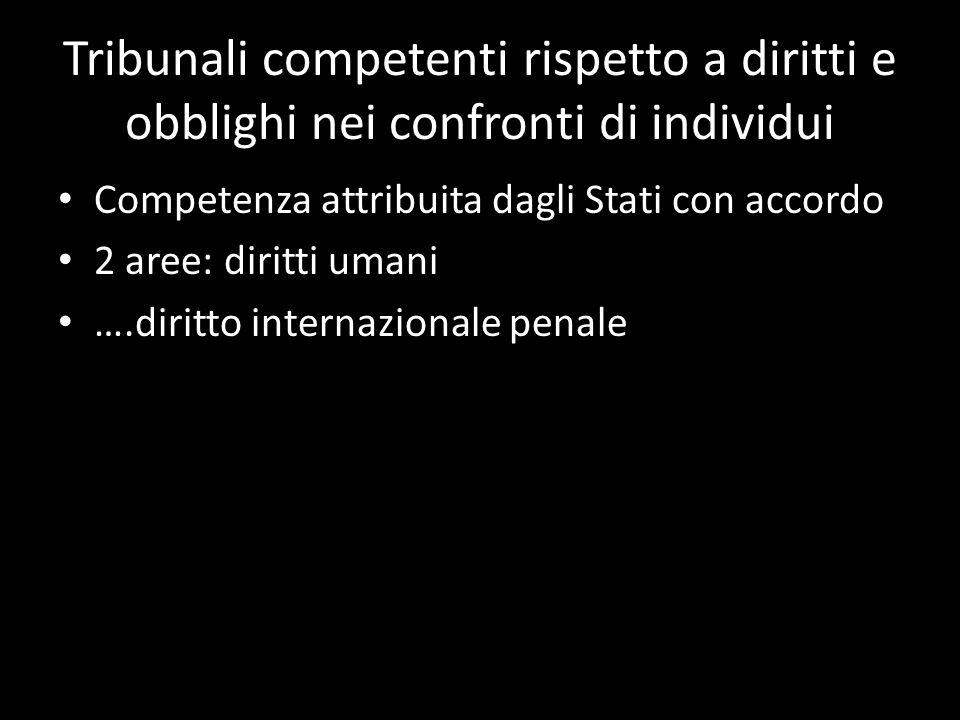 Tribunali competenti rispetto a diritti e obblighi nei confronti di individui Competenza attribuita dagli Stati con accordo 2 aree: diritti umani ….di