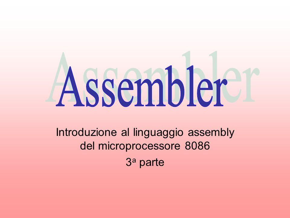 Introduzione al linguaggio assembly del microprocessore 8086 3 a parte
