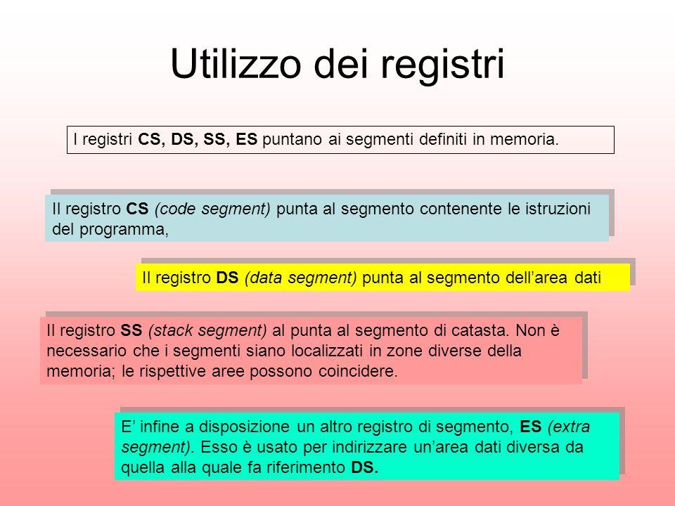 Utilizzo dei registri I registri CS, DS, SS, ES puntano ai segmenti definiti in memoria. Il registro CS (code segment) punta al segmento contenente le