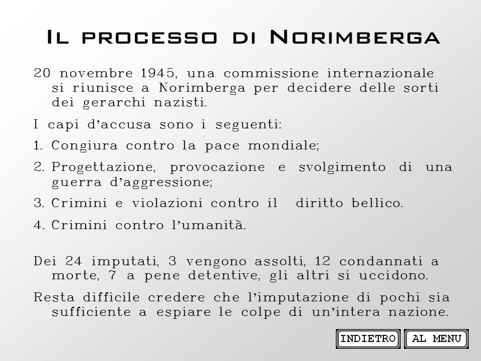 Il processo di Norimberga 20 novembre 1945, una commissione internazionale si riunisce a Norimberga per decidere delle sorti dei gerarchi nazisti. I c