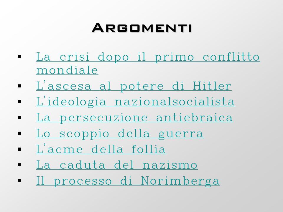 Argomenti La crisi dopo il primo conflitto mondiale La crisi dopo il primo conflitto mondiale L'ascesa al potere di Hitler L'ideologia nazionalsociali