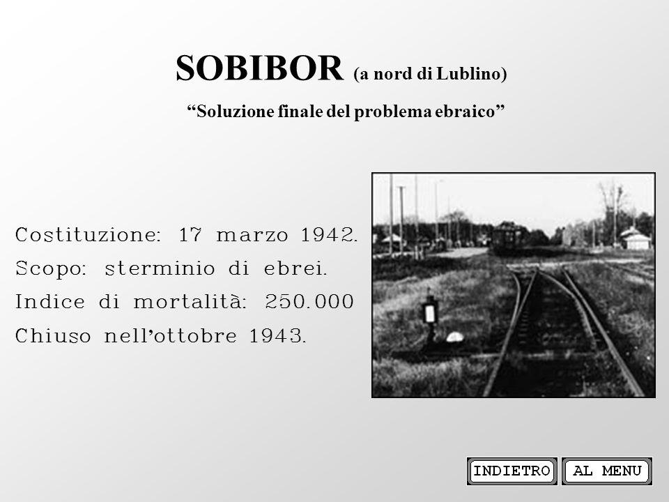 Costituzione: 17 marzo 1942. Scopo: sterminio di ebrei. Indice di mortalità: 250.000 Chiuso nell ottobre 1943. SOBIBOR (a nord di Lublino) Soluzione f