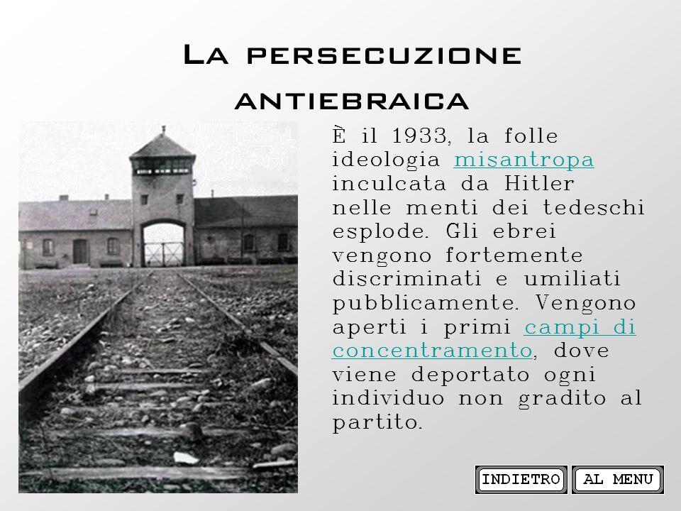 La persecuzione antiebraica È il 1933, la folle ideologia misantropa inculcata da Hitler nelle menti dei tedeschi esplode. Gli ebrei vengono fortement