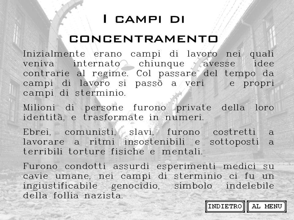 I campi di concentramento Inizialmente erano campi di lavoro nei quali veniva internato chiunque avesse idee contrarie al regime. Col passare del temp