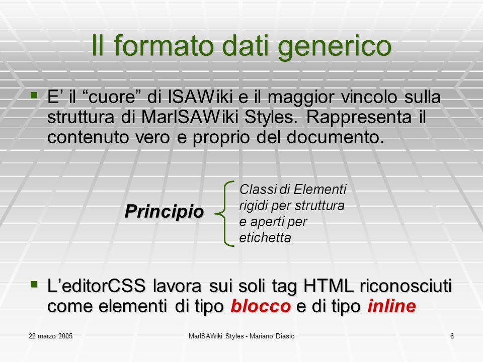 22 marzo 2005MarISAWiki Styles - Mariano Diasio6 Il formato dati generico E il cuore di ISAWiki e il maggior vincolo sulla struttura di MarISAWiki Styles.