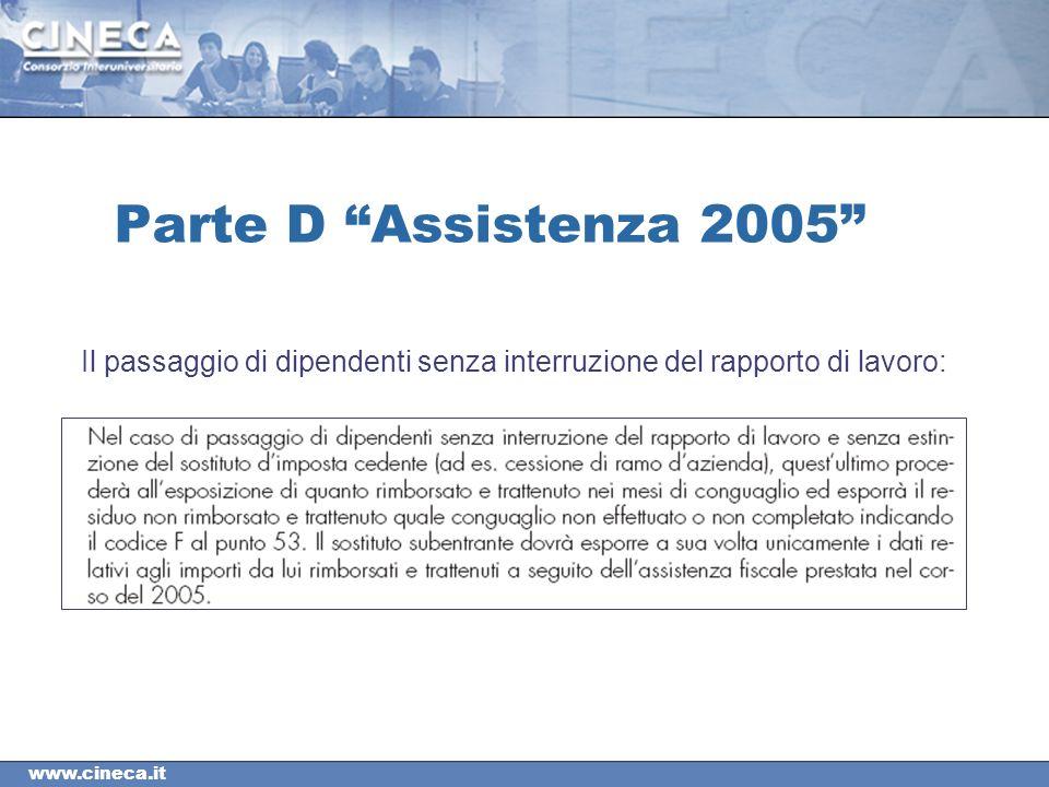 www.cineca.it Parte D Assistenza 2005 Il passaggio di dipendenti senza interruzione del rapporto di lavoro: