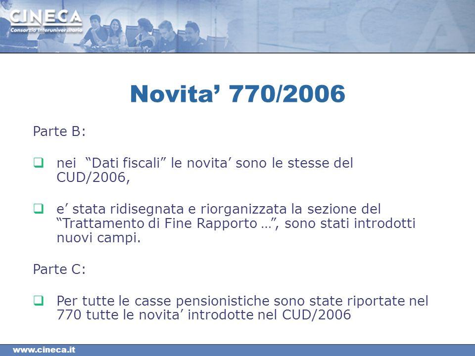 www.cineca.it Parte B: nei Dati fiscali le novita sono le stesse del CUD/2006, e stata ridisegnata e riorganizzata la sezione del Trattamento di Fine Rapporto …, sono stati introdotti nuovi campi.