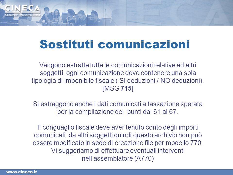 www.cineca.it Sostituti comunicazioni Vengono estratte tutte le comunicazioni relative ad altri soggetti, ogni comunicazione deve contenere una sola tipologia di imponibile fiscale ( SI deduzioni / NO deduzioni).