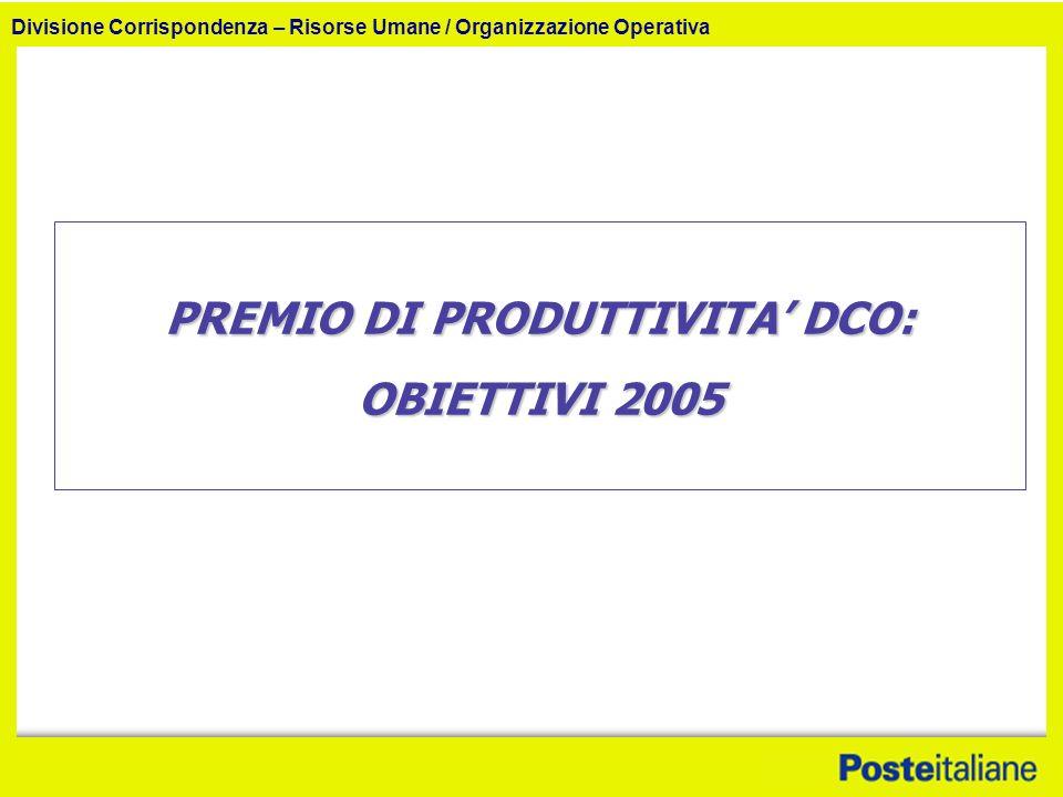 Divisione Corrispondenza – Risorse Umane / Organizzazione Operativa PREMIO DI PRODUTTIVITA DCO: OBIETTIVI 2005