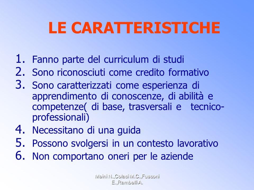 Meini N.,Colaci M.C.,Fusconi E.,Rambelli A. LE CARATTERISTICHE 1.