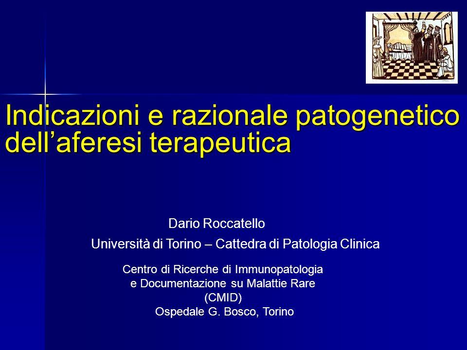 Indicazioni e razionale patogenetico dellaferesi terapeutica Dario Roccatello Centro di Ricerche di Immunopatologia e Documentazione su Malattie Rare (CMID) Ospedale G.