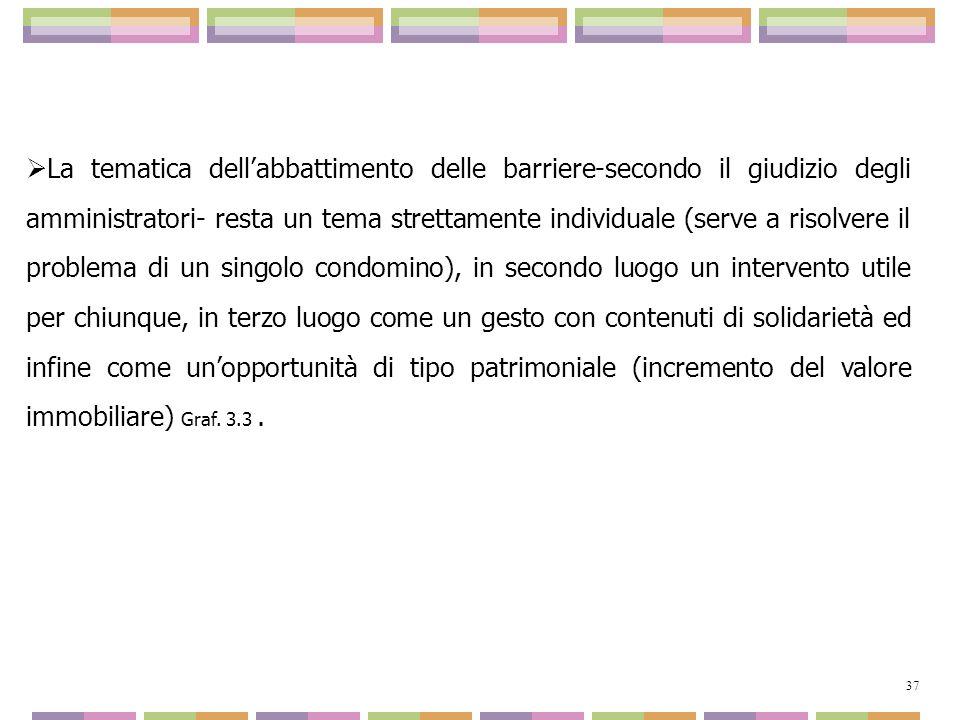 La tematica dellabbattimento delle barriere-secondo il giudizio degli amministratori- resta un tema strettamente individuale (serve a risolvere il pro