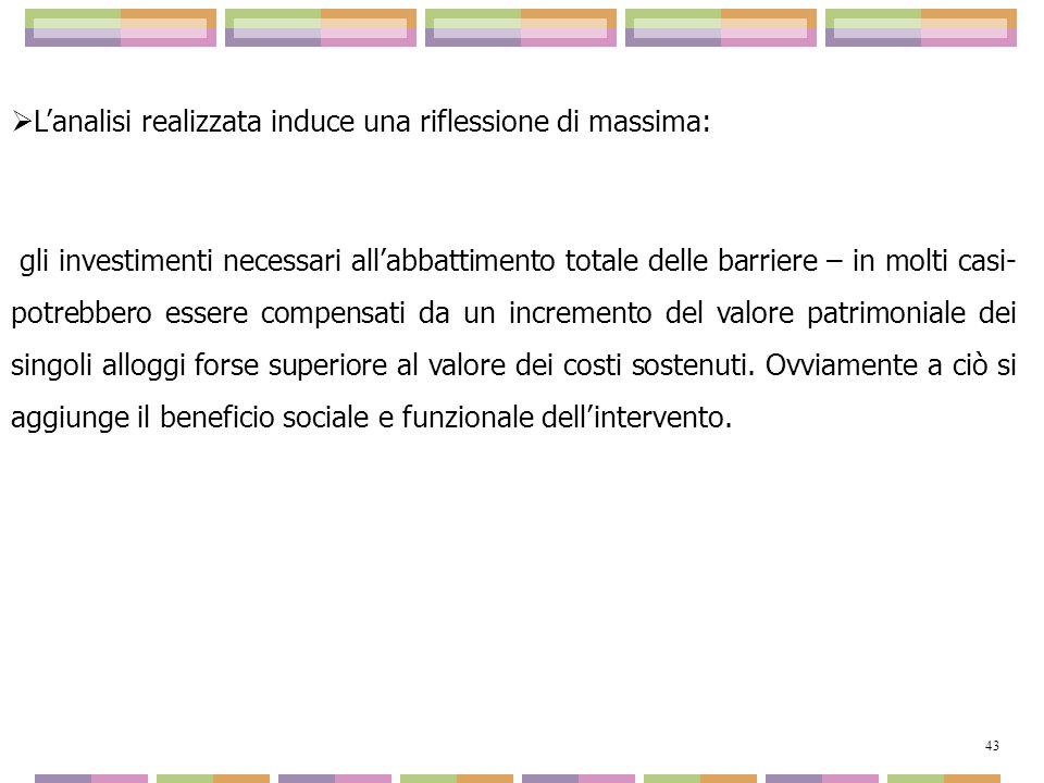 Lanalisi realizzata induce una riflessione di massima: gli investimenti necessari allabbattimento totale delle barriere – in molti casi- potrebbero es