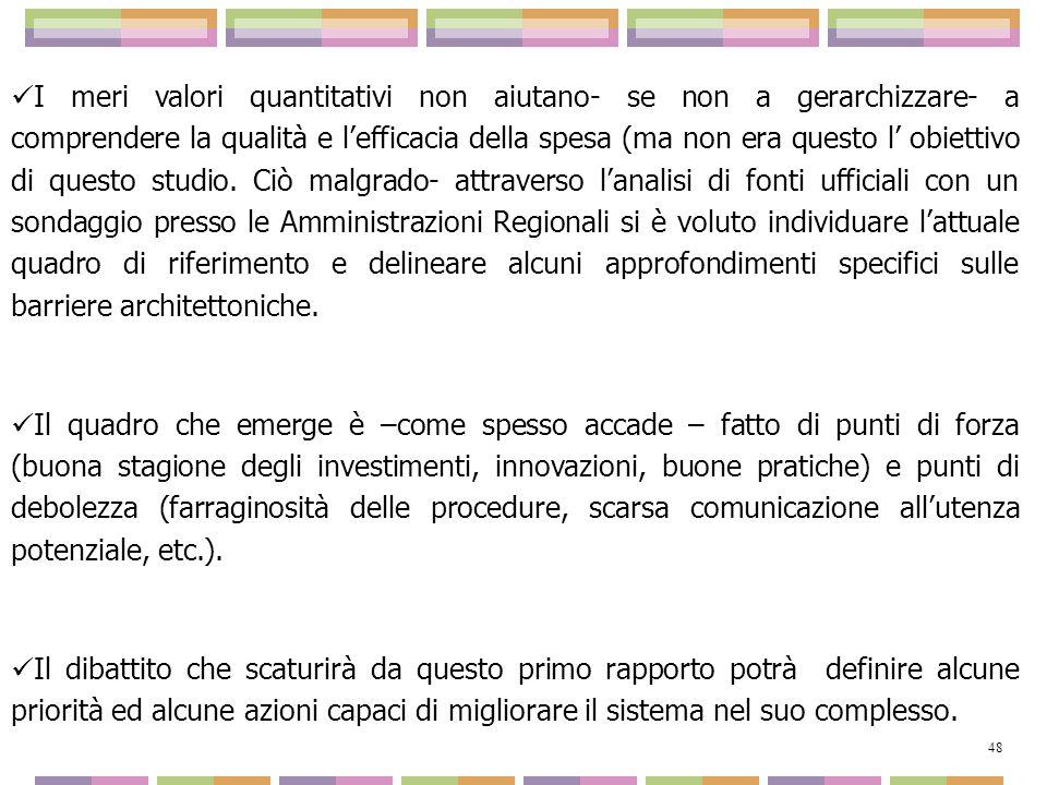 I meri valori quantitativi non aiutano- se non a gerarchizzare- a comprendere la qualità e lefficacia della spesa (ma non era questo l obiettivo di qu