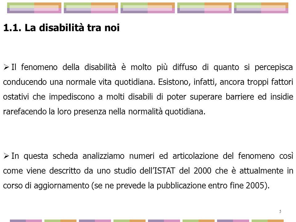 1.1. La disabilità tra noi Il fenomeno della disabilità è molto più diffuso di quanto si percepisca conducendo una normale vita quotidiana. Esistono,