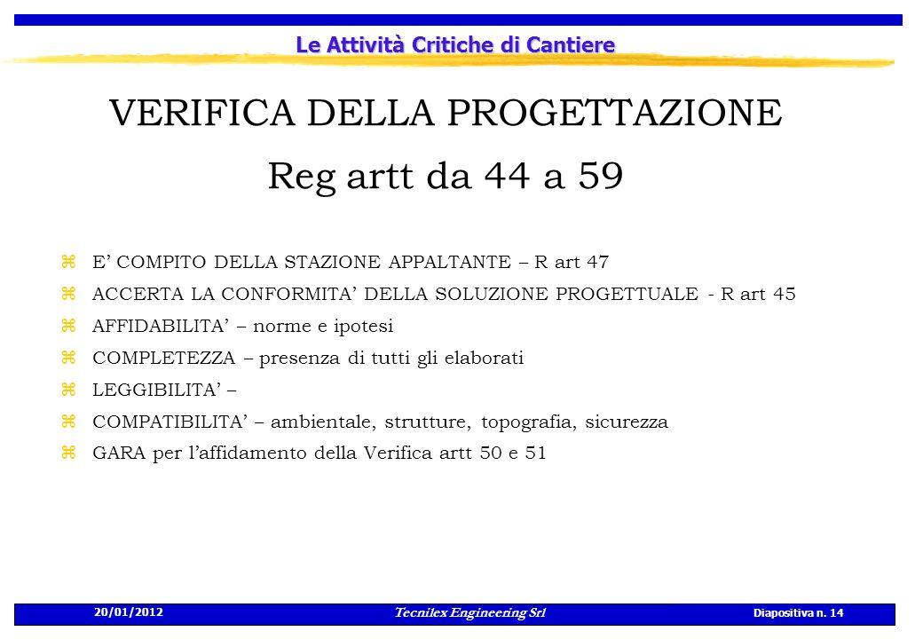 20/01/2012 Tecnilex Engineering Srl Diapositiva n. 14 Le Attività Critiche di Cantiere VERIFICA DELLA PROGETTAZIONE Reg artt da 44 a 59 zE COMPITO DEL