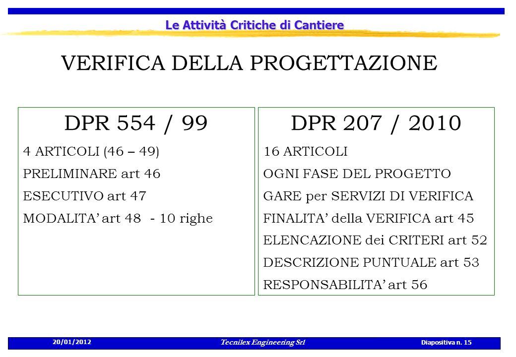 20/01/2012 Tecnilex Engineering Srl Diapositiva n. 15 Le Attività Critiche di Cantiere VERIFICA DELLA PROGETTAZIONE DPR 554 / 99 4 ARTICOLI (46 – 49)