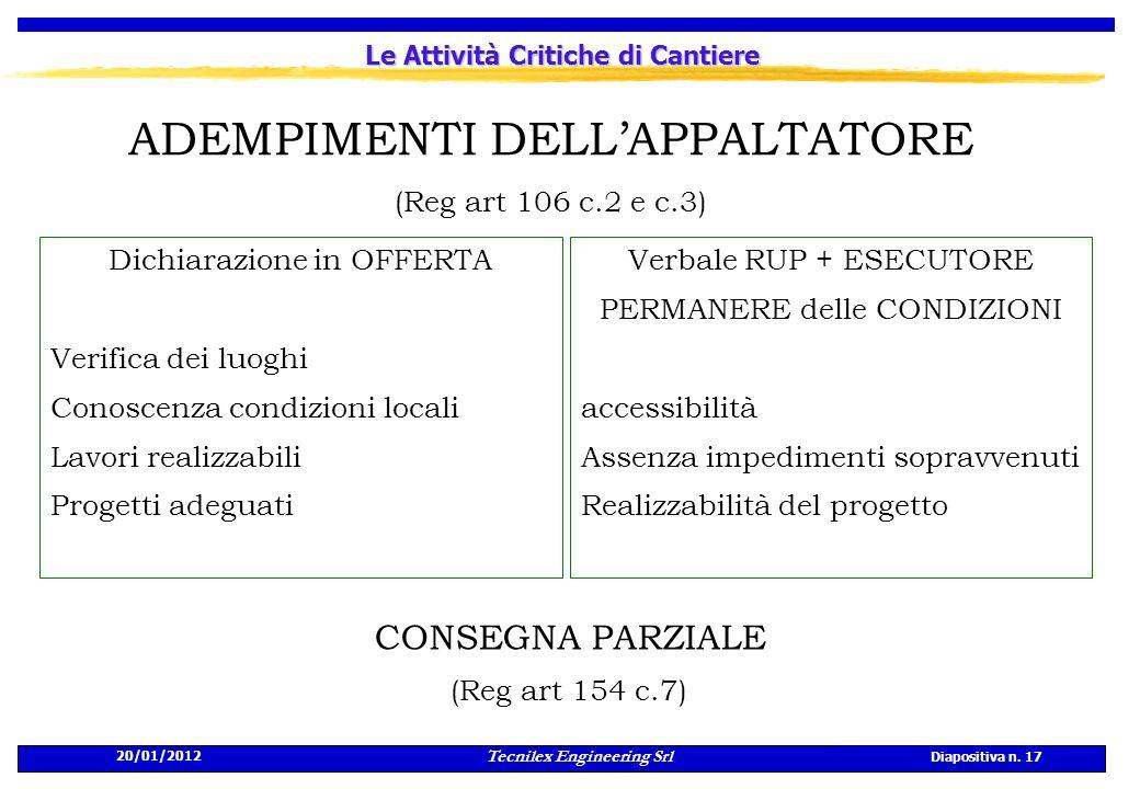 20/01/2012 Tecnilex Engineering Srl Diapositiva n. 17 Le Attività Critiche di Cantiere ADEMPIMENTI DELLAPPALTATORE (Reg art 106 c.2 e c.3) Verbale RUP