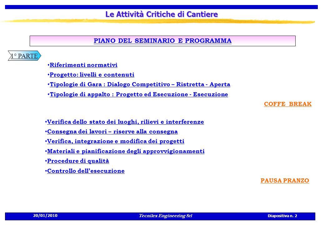 Tecnilex Engineering Srl Diapositiva n. 2 20/01/2010 Le Attività Critiche di Cantiere PIANO DEL SEMINARIO E PROGRAMMA Riferimenti normativi Progetto: