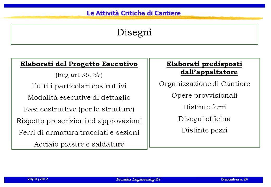 20/01/2012 Tecnilex Engineering Srl Diapositiva n. 24 Le Attività Critiche di Cantiere Disegni Elaborati predisposti dallappaltatore Organizzazione di