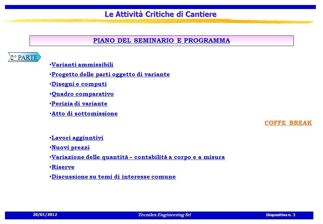 Tecnilex Engineering Srl Diapositiva n. 3 20/01/2012 Le Attività Critiche di Cantiere PIANO DEL SEMINARIO E PROGRAMMA Varianti ammissibili Progetto de
