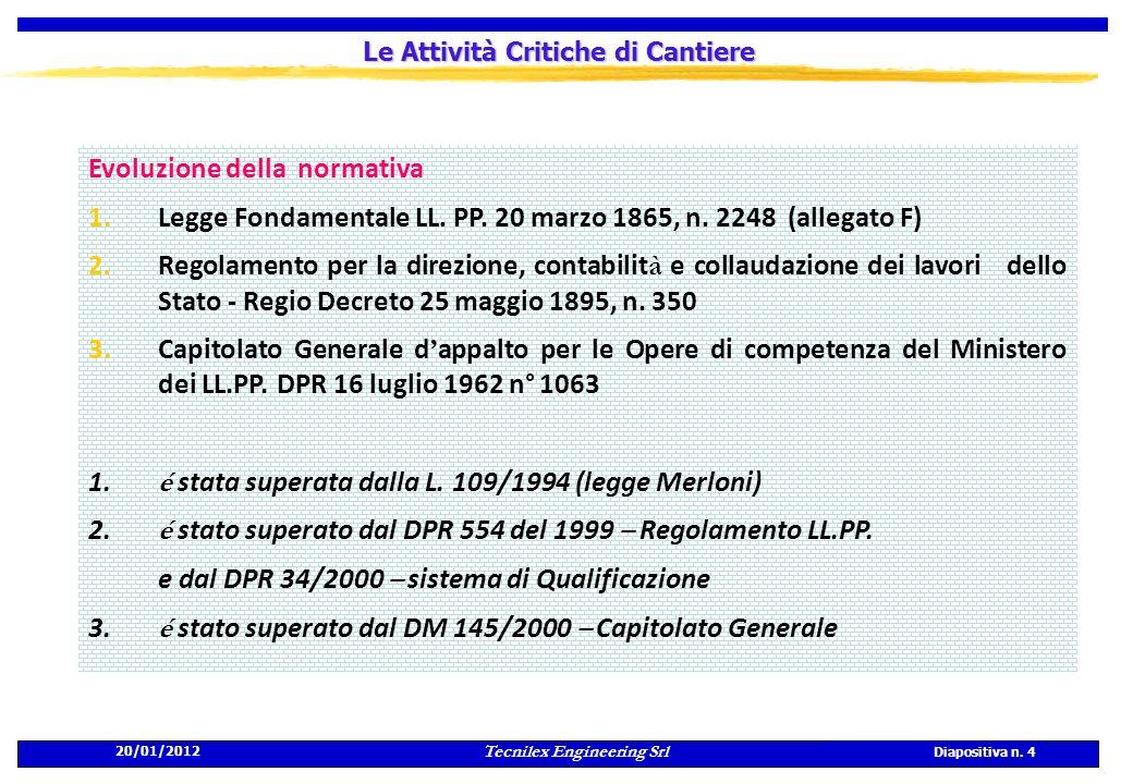 20/01/2012 Tecnilex Engineering Srl Diapositiva n. 4 Le Attività Critiche di Cantiere Evoluzione della normativa 1.Legge Fondamentale LL. PP. 20 marzo