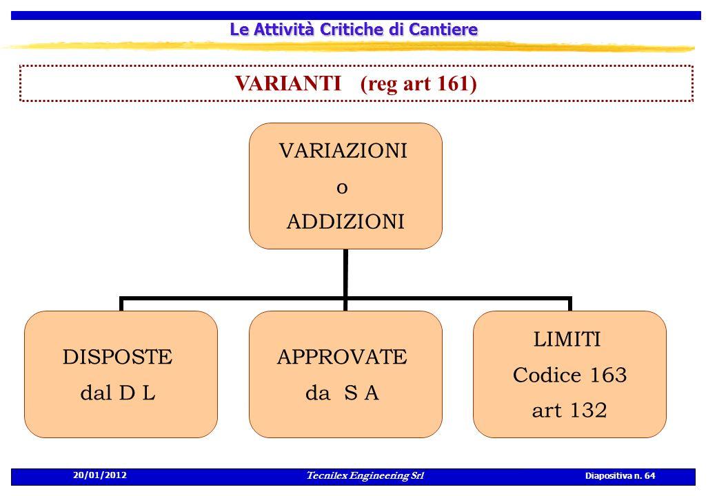 20/01/2012 Tecnilex Engineering Srl Diapositiva n. 64 Le Attività Critiche di Cantiere VARIANTI (reg art 161) VARIAZIONI o ADDIZIONI DISPOSTE dal D L