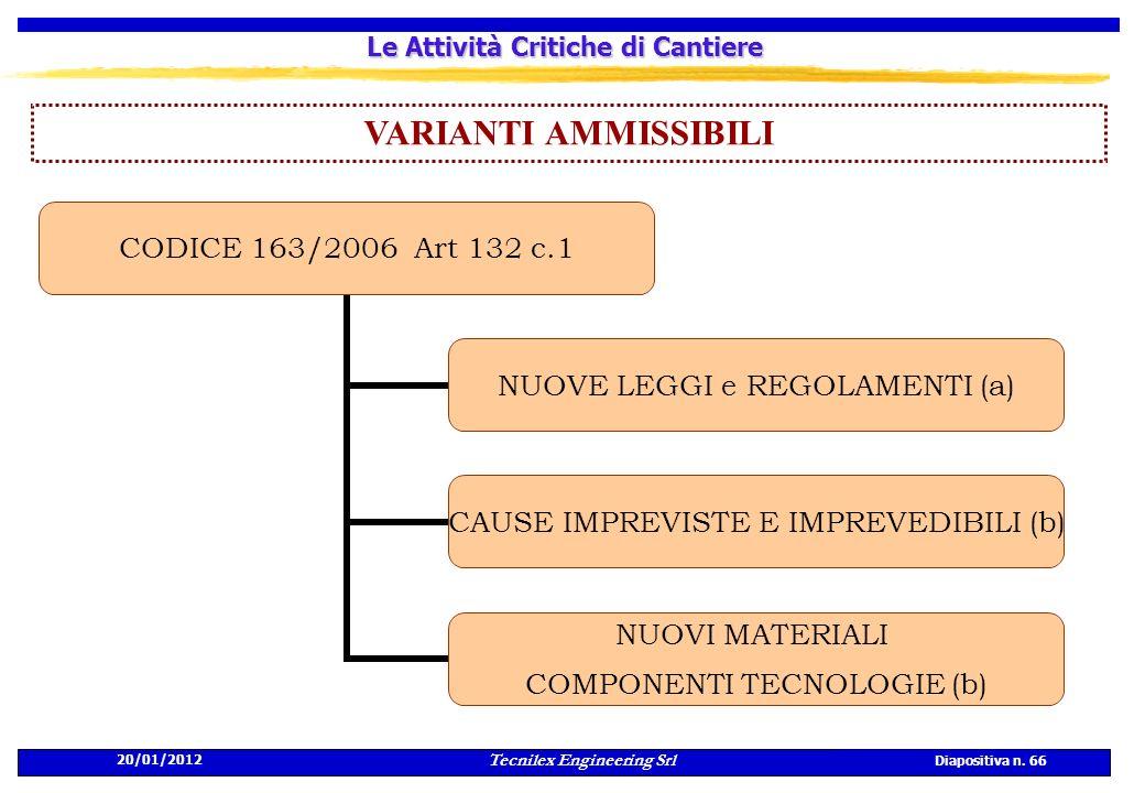 20/01/2012 Tecnilex Engineering Srl Diapositiva n. 66 Le Attività Critiche di Cantiere VARIANTI AMMISSIBILI CODICE 163/2006 Art 132 c.1 NUOVE LEGGI e