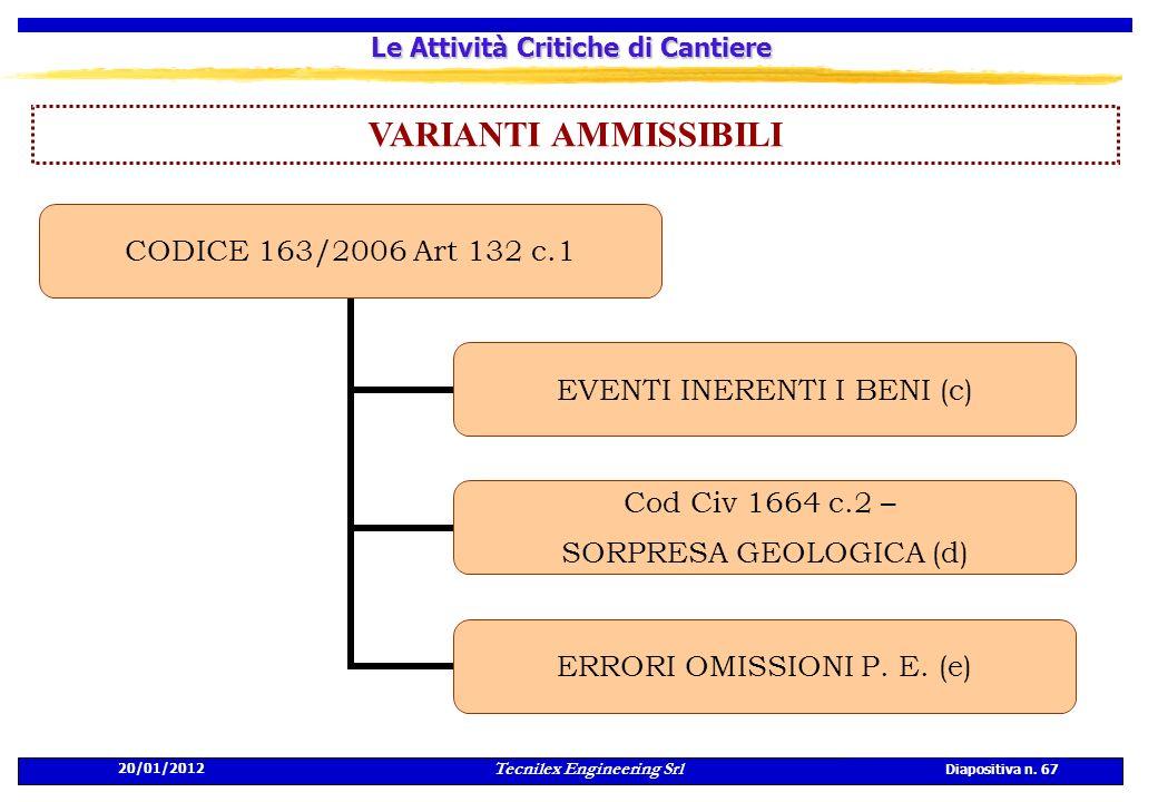 20/01/2012 Tecnilex Engineering Srl Diapositiva n. 67 Le Attività Critiche di Cantiere VARIANTI AMMISSIBILI CODICE 163/2006 Art 132 c.1 EVENTI INERENT