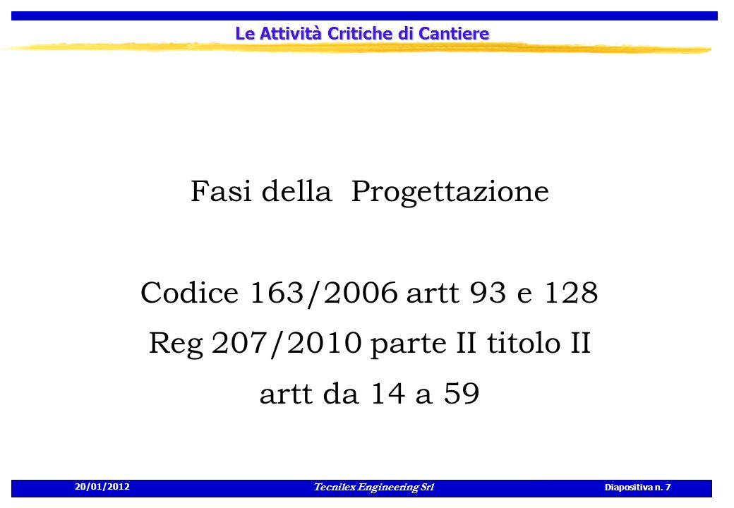 20/01/2012 Tecnilex Engineering Srl Diapositiva n. 7 Le Attività Critiche di Cantiere Fasi della Progettazione Codice 163/2006 artt 93 e 128 Reg 207/2