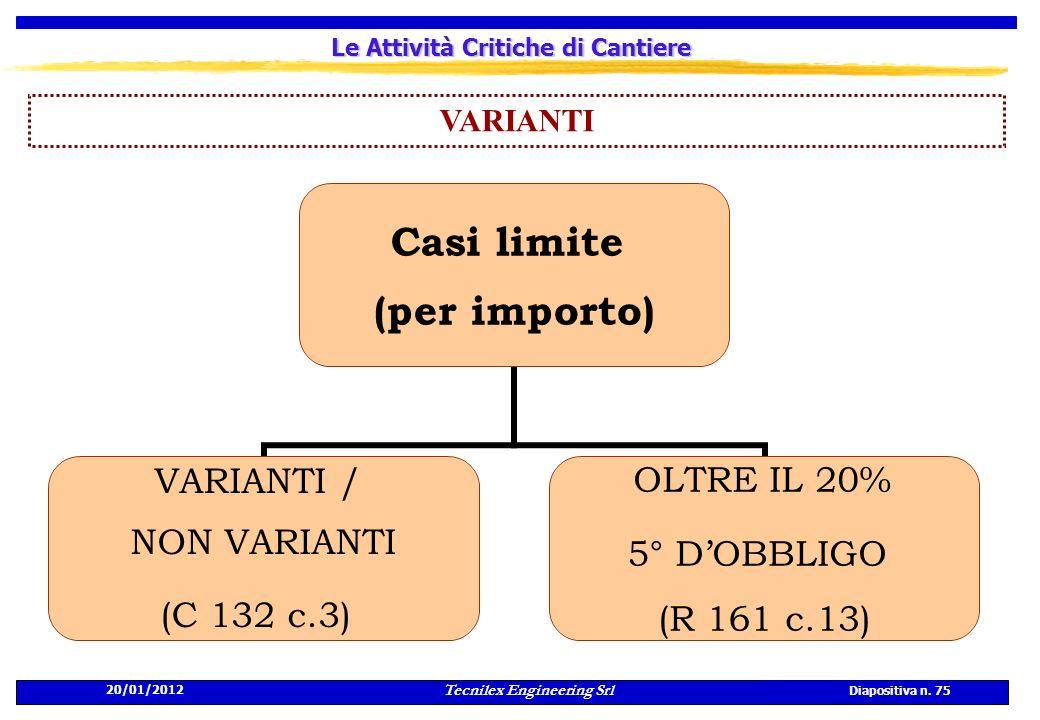 20/01/2012 Tecnilex Engineering Srl Diapositiva n. 75 Le Attività Critiche di Cantiere VARIANTI Casi limite (per importo) VARIANTI / NON VARIANTI (C 1