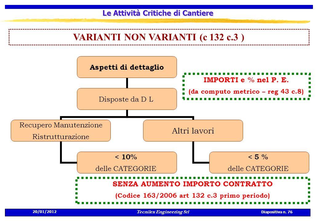 20/01/2012 Tecnilex Engineering Srl Diapositiva n. 76 Le Attività Critiche di Cantiere VARIANTI NON VARIANTI (c 132 c.3 ) Aspetti di dettaglio Dispost