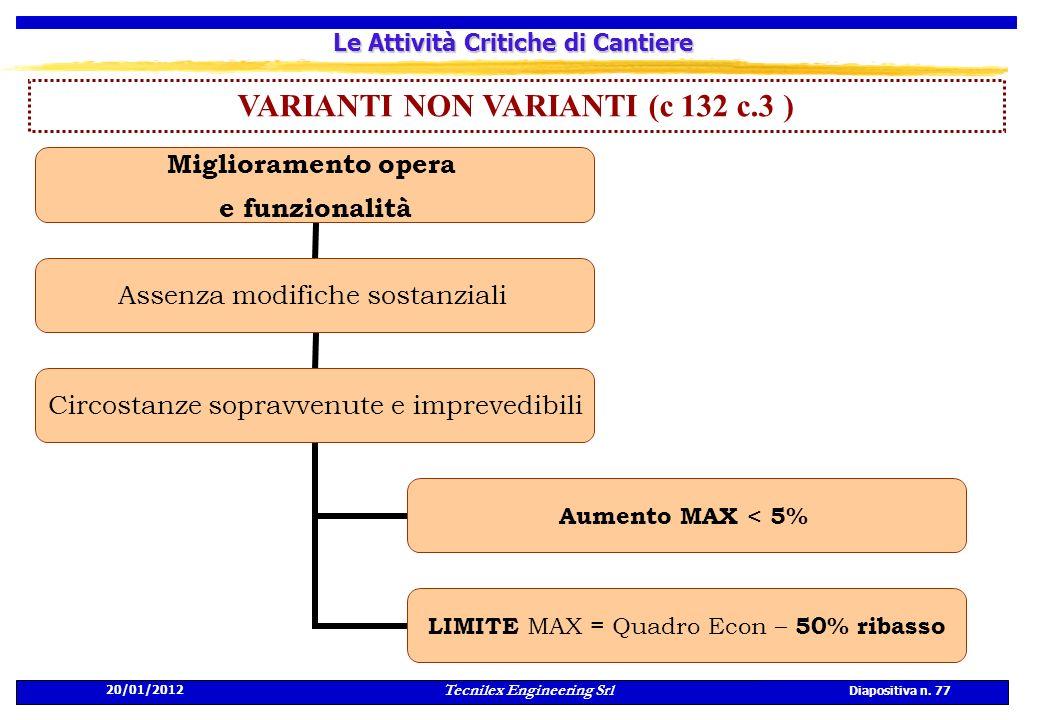 20/01/2012 Tecnilex Engineering Srl Diapositiva n. 77 Le Attività Critiche di Cantiere VARIANTI NON VARIANTI (c 132 c.3 ) Miglioramento opera e funzio