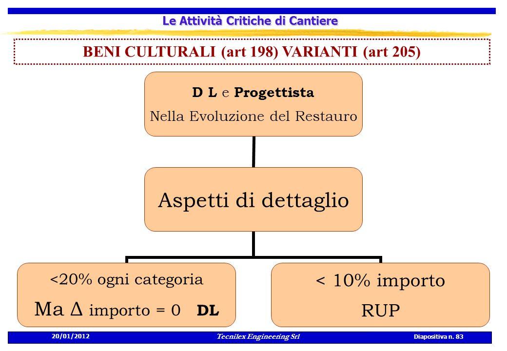 20/01/2012 Tecnilex Engineering Srl Diapositiva n. 83 Le Attività Critiche di Cantiere BENI CULTURALI (art 198) VARIANTI (art 205) D L e Progettista N