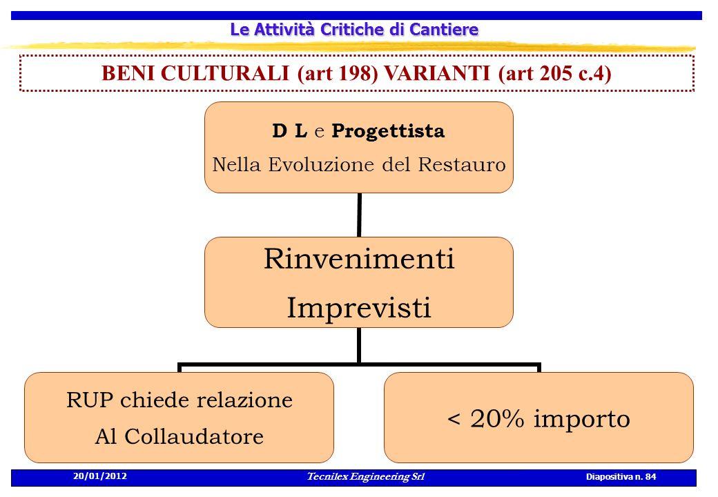 20/01/2012 Tecnilex Engineering Srl Diapositiva n. 84 Le Attività Critiche di Cantiere BENI CULTURALI (art 198) VARIANTI (art 205 c.4) D L e Progettis