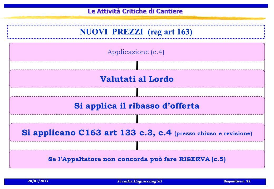 20/01/2012 Tecnilex Engineering Srl Diapositiva n. 92 Le Attività Critiche di Cantiere NUOVI PREZZI (reg art 163) Applicazione (c.4) Valutati al Lordo