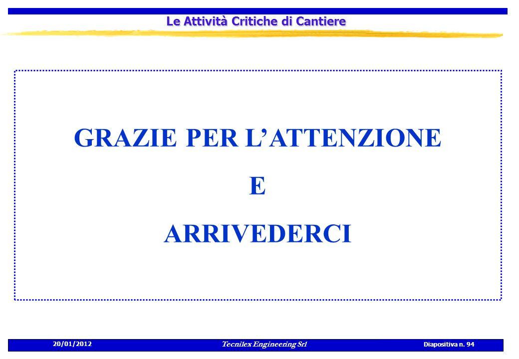20/01/2012 Tecnilex Engineering Srl Diapositiva n. 94 Le Attività Critiche di Cantiere GRAZIE PER LATTENZIONE E ARRIVEDERCI