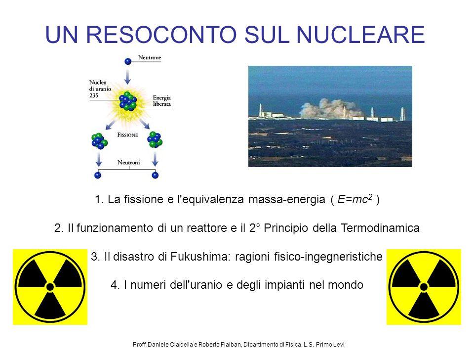 Proff.Daniele Cialdella e Roberto Flaiban, Dipartimento di Fisica, L.S. Primo Levi UN RESOCONTO SUL NUCLEARE 1. La fissione e l'equivalenza massa-ener