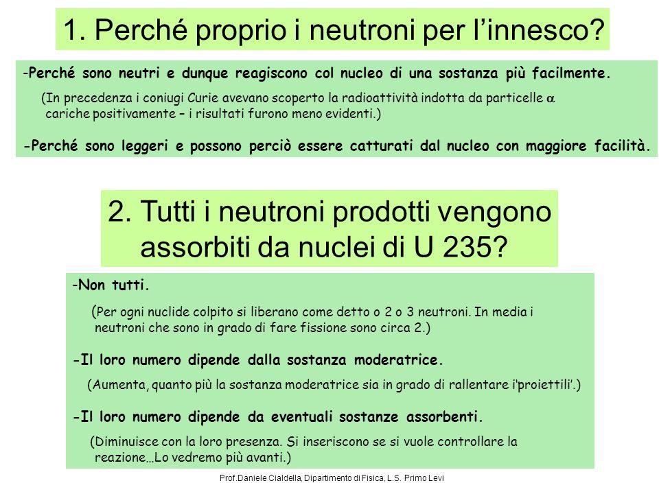 1. Perché proprio i neutroni per linnesco? -Perché sono neutri e dunque reagiscono col nucleo di una sostanza più facilmente. (In precedenza i coniugi