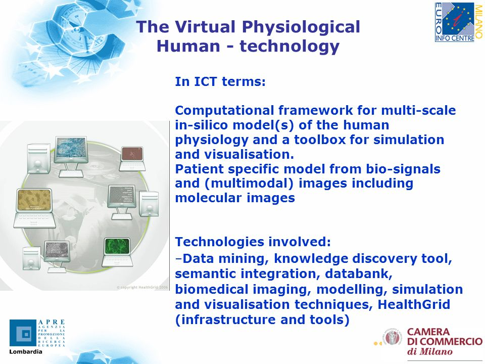 15 In ICT terms: Computational framework for multi-scale in-silico model(s) of the human physiology and a toolbox for simulation and visualisation. Pa
