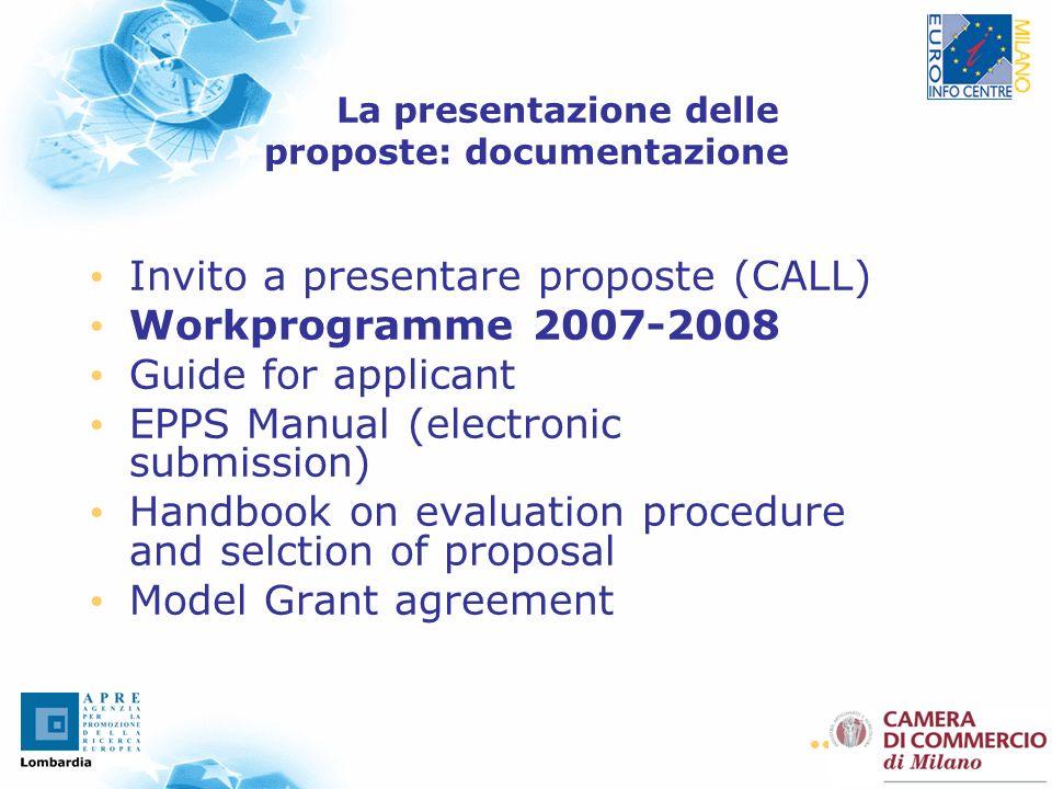 23 La presentazione delle proposte: documentazione Invito a presentare proposte (CALL) Workprogramme 2007-2008 Guide for applicant EPPS Manual (electr