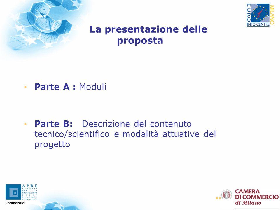 28 La presentazione delle proposta Parte A : Moduli Parte B: Descrizione del contenuto tecnico/scientifico e modalità attuative del progetto