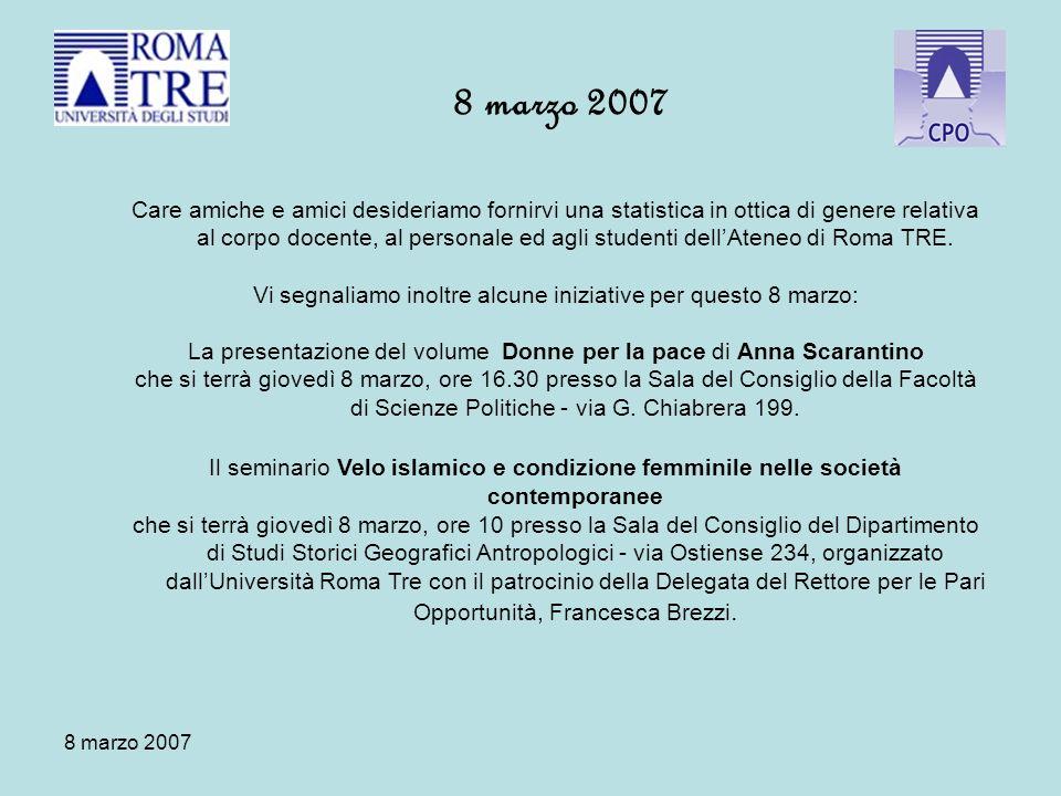 8 marzo 2007 Care amiche e amici desideriamo fornirvi una statistica in ottica di genere relativa al corpo docente, al personale ed agli studenti dellAteneo di Roma TRE.
